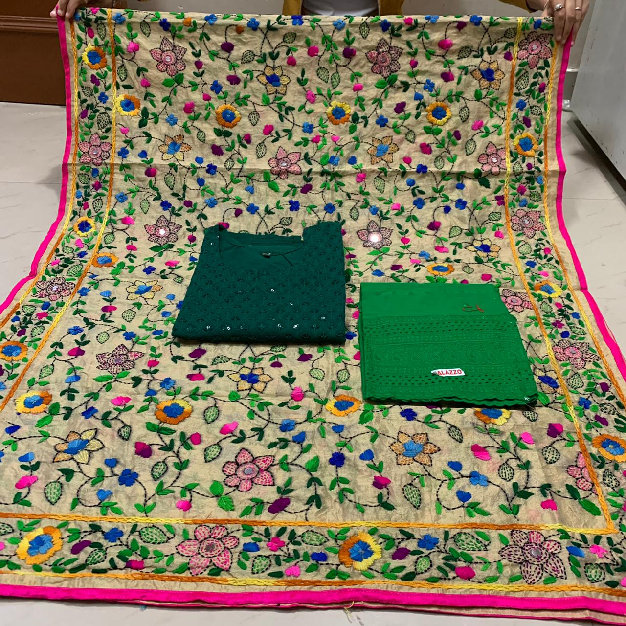 Beautiful  Flower Pom Pom  Dupatta  With Dark Green Chikankari  Kurti and Plazo