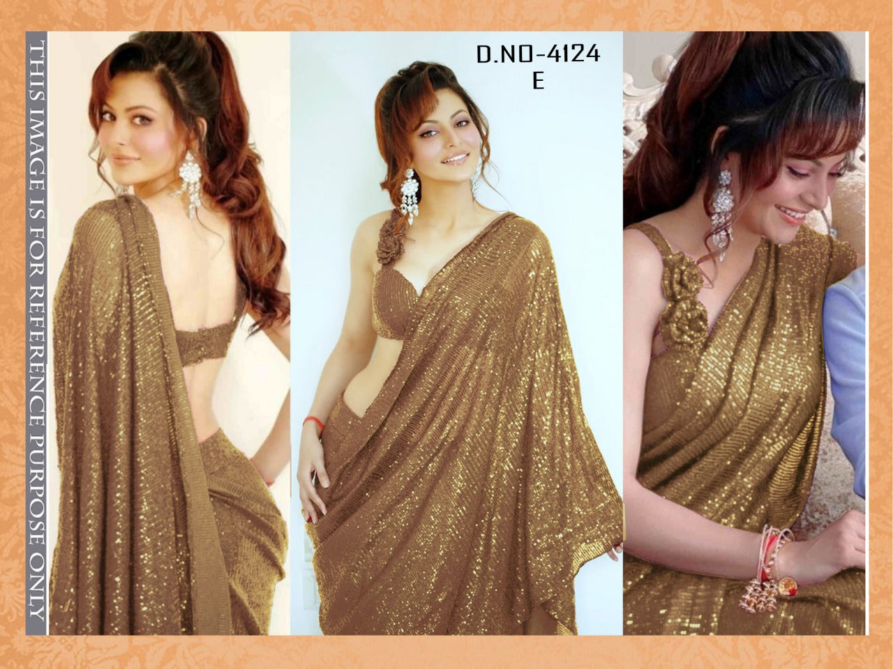 High Quality Golden Georgette Sequins Fancy Ladies Sarees Buy Online