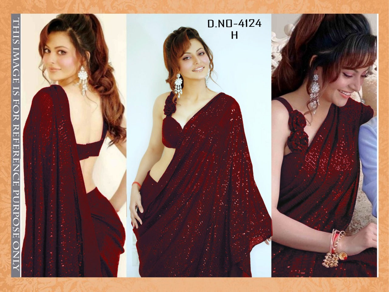 High Quality Mahogany Georgette Sequin Fancy Ladies Sarees Buy Online