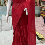 High Quality Red Georgette Sequin Fancy Ladies Sarees Buy Online