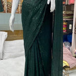 High Quality Green Georgette Sequins Fancy Ladies Sarees Buy Online