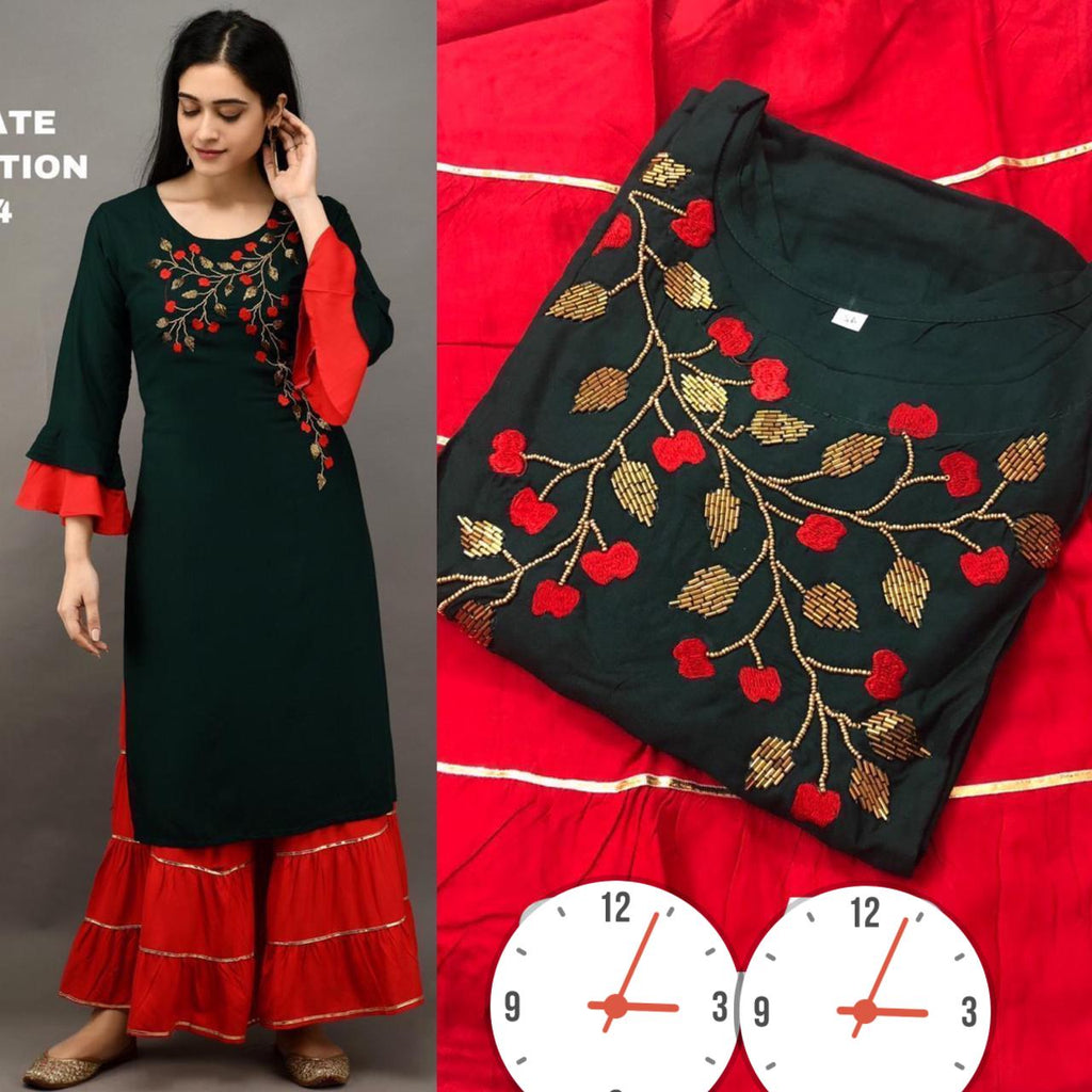Beautiful  Dark Green Rayon Fabric Kurti with Sharara