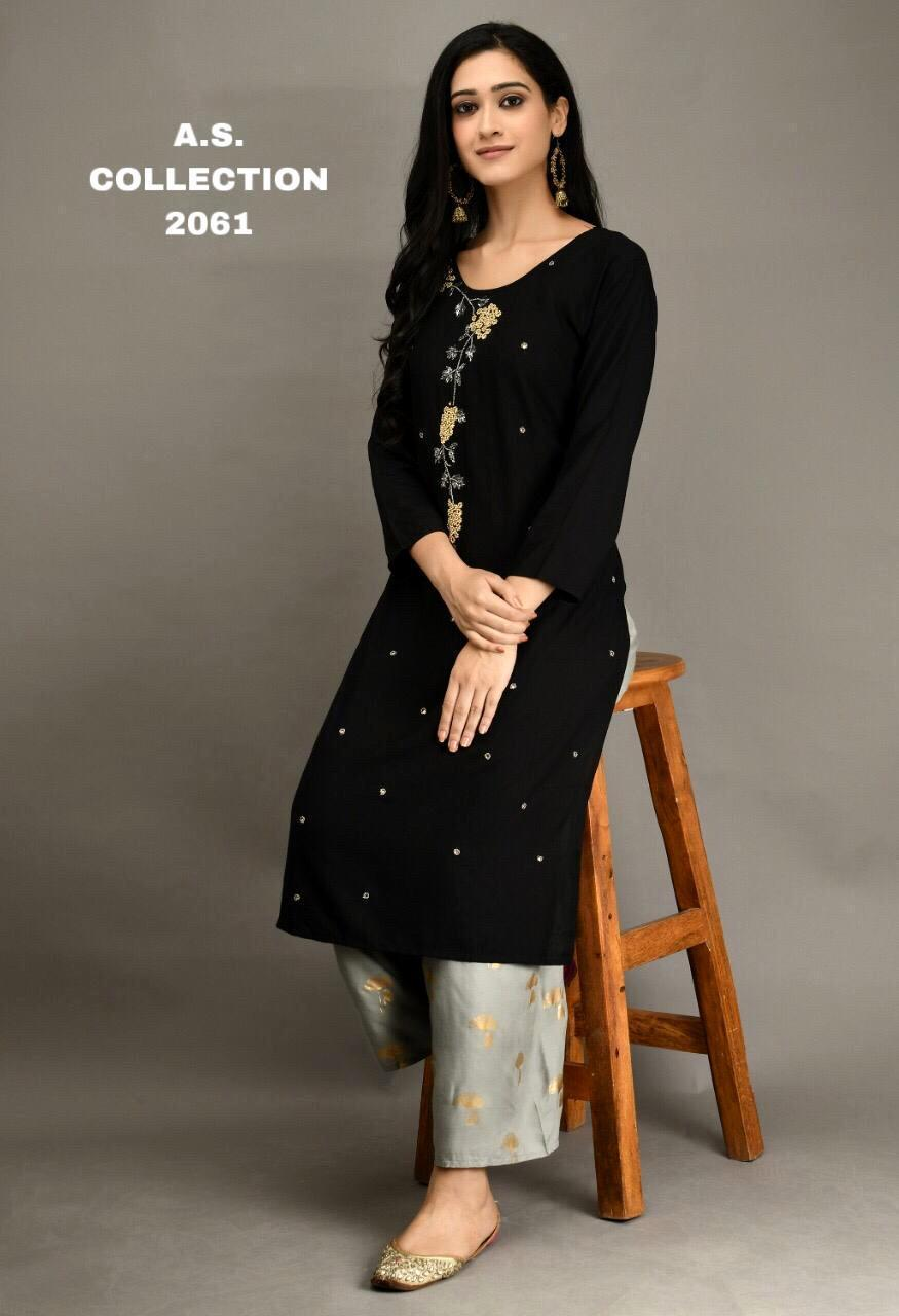 Elegant Black Rayon Cotton Kurti With Plazo