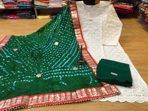 White Chikan Work Kurti with Dark Green Sharara and  Silk Bandhni Dupatta