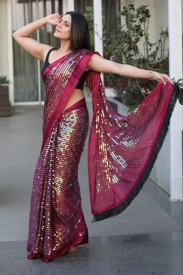 Buy any Two  Beautiful  Chiffon Georgette Sequins Bling Bling Saree