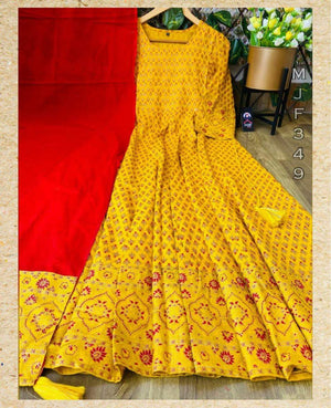 Beautiful Rayon Full Flair Gown with Dupatta