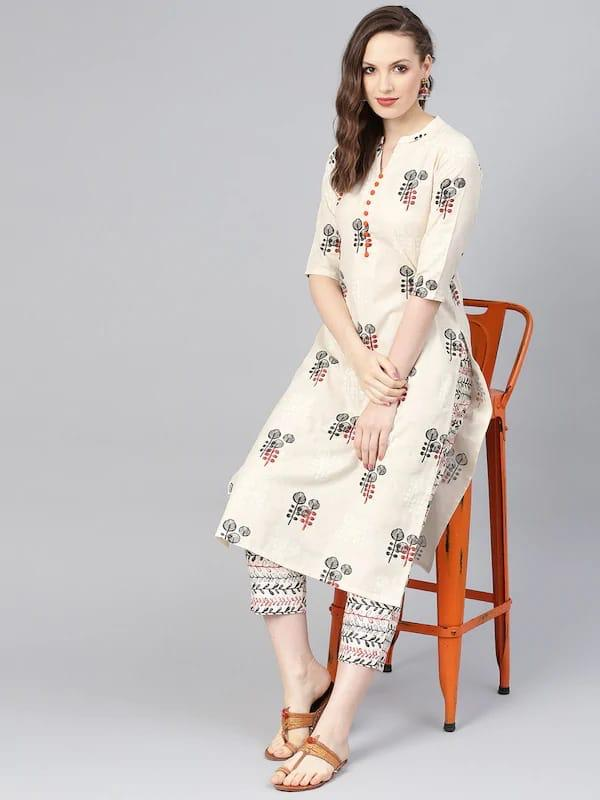 Beautiful Cotton Hand Block Printed Kurti With Pant