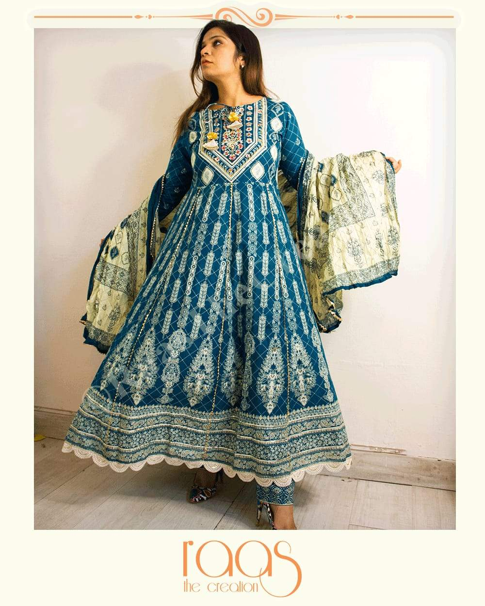 Beautiful Blue Fine Cotton Kalidar Ghera fully Printed kurti with Pant and Dupatta