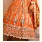 Beautiful Orange Fine Cotton Kalidar Ghera fully Printed kurti with Pant and Dupatta