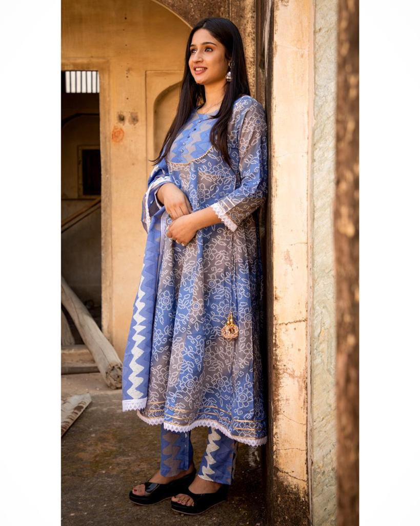 Beautiful Blue Bandhni Print A-Line Kurti with Zig Zag Print Pant and Dupatta