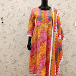 Beautiful Orange Bandhni Print A-Line Kurti with Zig Zag Print Pant and Dupatta