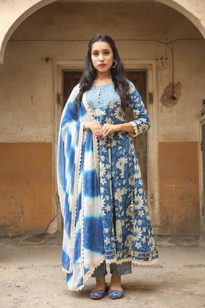 Beautiful A-Line Flower Print Kurti with Pant and Dupatta