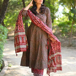Beautiful  Angrakha Anarkali kurta with Pant and dupatta