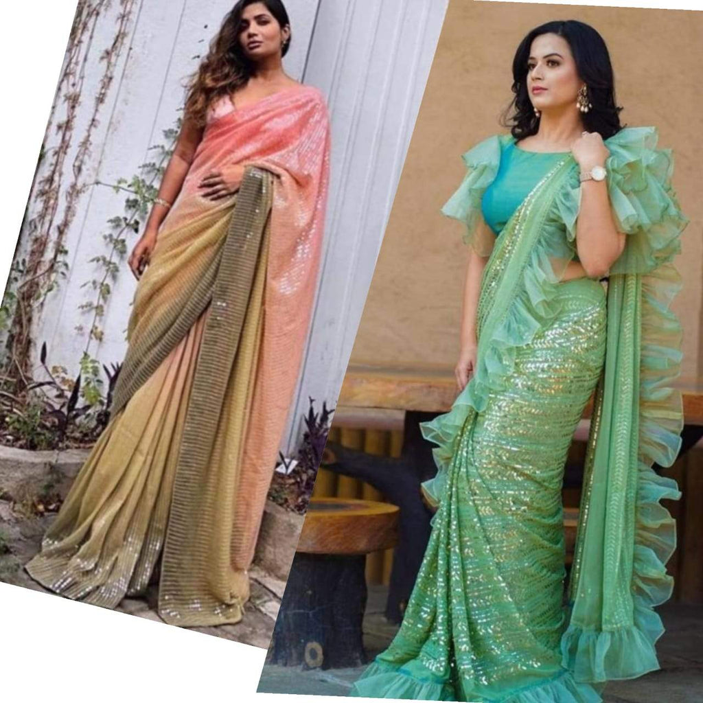 Buy two Georgette With Sequins Embroidery Work Saree combo sets