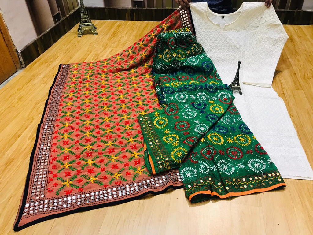 Beautiful Phulkari Embroidery Georgette Dupatta And Chikankari Sequins Work Kurti With  Handwork Raw Silk Green Plazzo