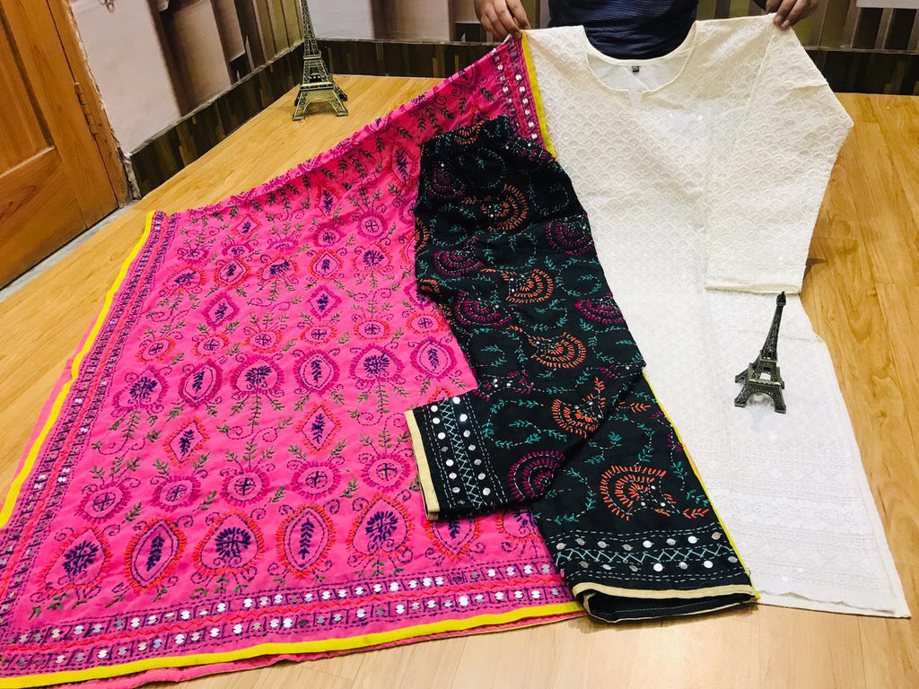 Beautiful Phulkari Embroidery Georgette Dupatta And Chikankari Sequins Work Kurti With Handwork Raw Silk Black Plazzo