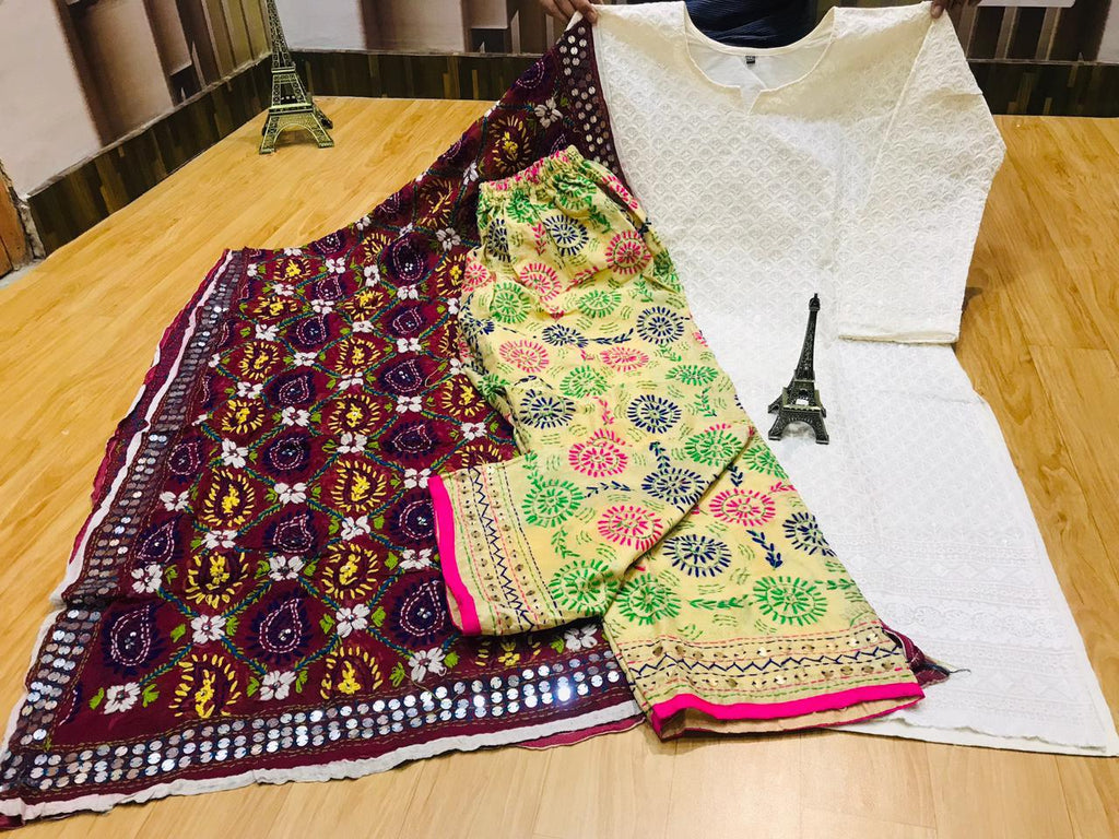 Beautiful Phulkari Embroidery Georgette Dupatta And Chikankari Sequins Work Kurti With Handwork Raw Silk  Plazzo