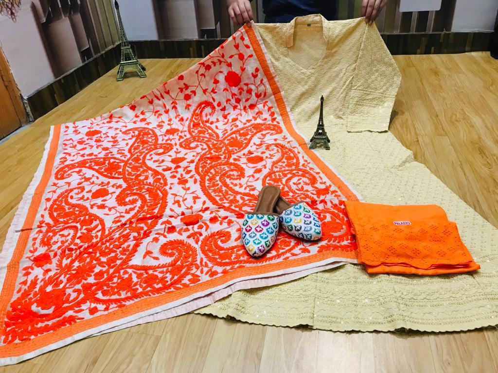 Beautiful Exclusive Orange Phulkari Raw Silk Handwork  Dupatta And Chikankari Sequins Work Anarkali  And  chikan plazzo with Chikan Sequins Work Jutti Set