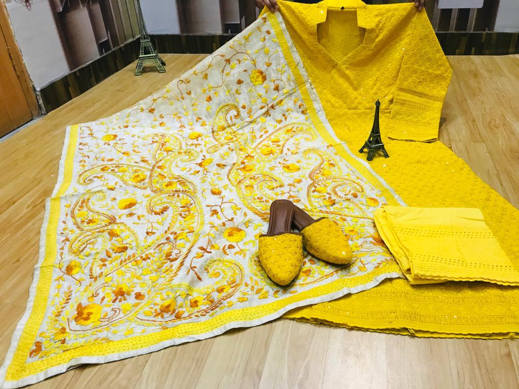 Beautiful Exclusive Yellow Phulkari Raw Silk Handwork  Dupatta And Chikankari Sequins Work Anarkali  And  chikan plazzo with Chikan Sequins Work Jutti Set