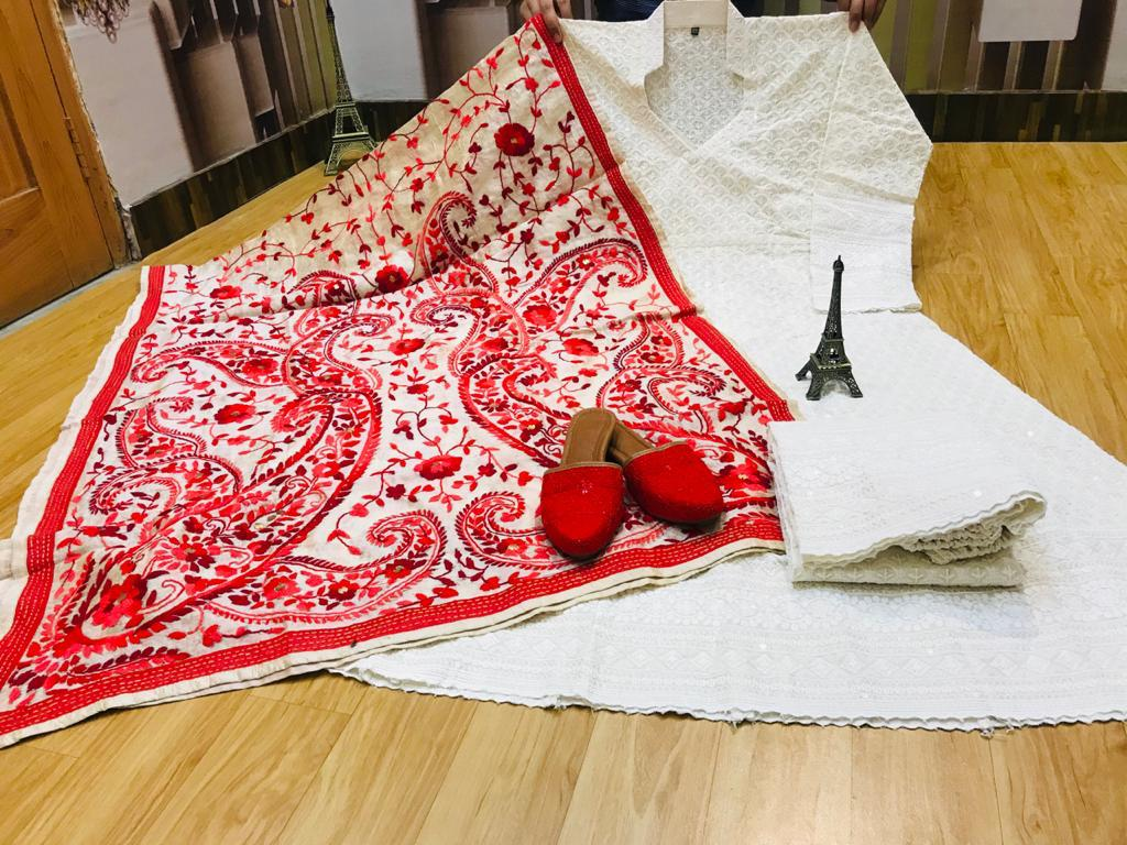 Beautiful Exclusive Red Phulkari Raw Silk Handwork  Dupatta And Chikankari Sequins Work  White Anarkali  And  chikan plazzo with Chikan Sequins Work Jutti Set