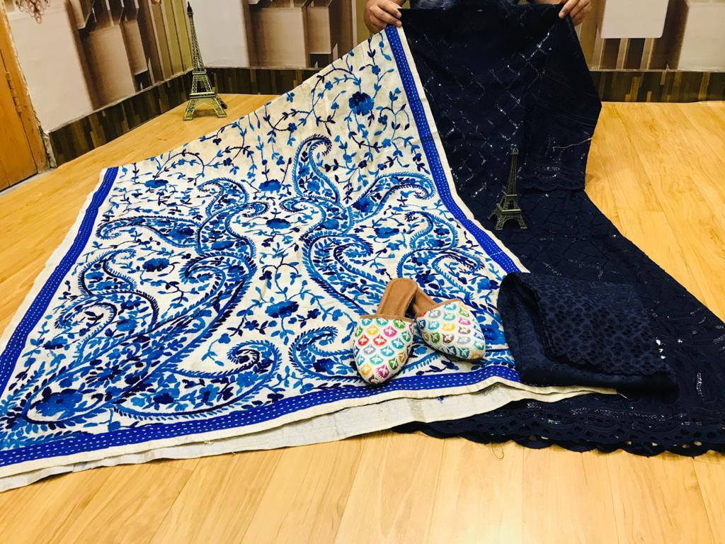 Beautiful Exclusive Phulkari Raw Silk Handwork  Dupatta And Chikankari Sequins Work Navy Blue Anarkali  And  chikan plazzo with Chikan Sequins Work Jutti Set