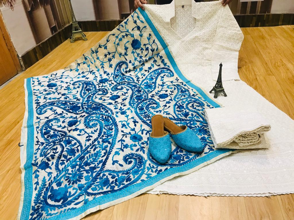 Beautiful Exclusive Sky Blue Phulkari Raw Silk Handwork  Dupatta And Chikankari Sequins Work  White Anarkali  And  chikan plazzo with Chikan Sequins Work Jutti Set