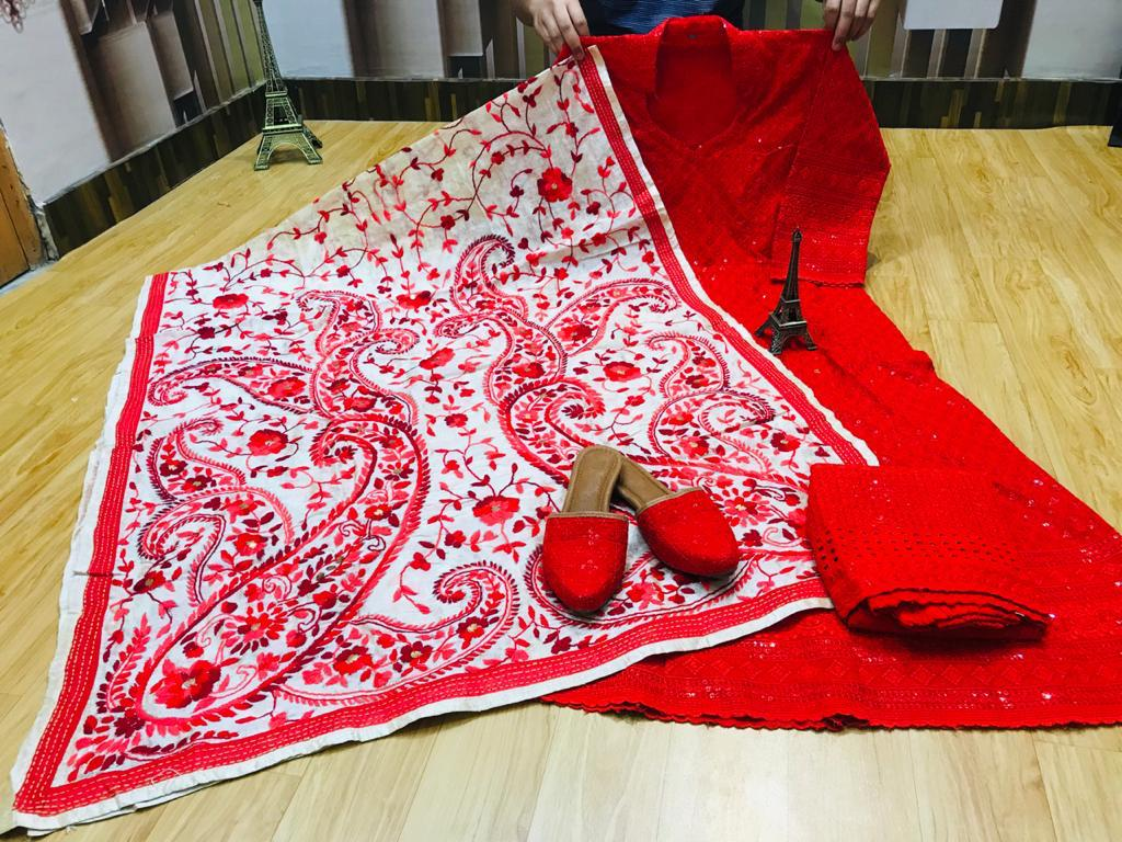 Beautiful Exclusive Phulkari Raw Silk Handwork  Dupatta And Chikankari Sequins Work Red  Anarkali  And  chikan plazzo with Chikan Sequins Work Jutti Set