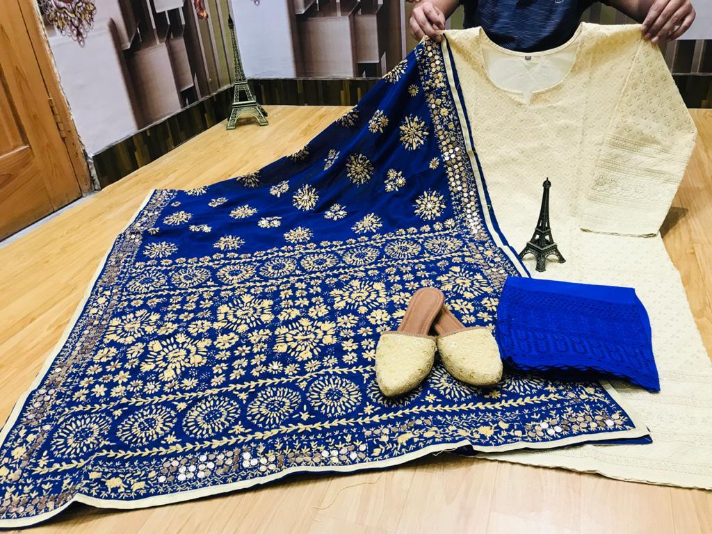 Beautiful Royal Blue Phulkari Pure Georgette Handwork Mirror Dupatta & Chikankari Sequins Work Kurti & Chikan Plazzo with Chikan Sequins Work Jutti Set