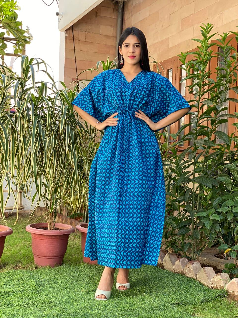 Beautiful  Blue Color Handblock Printed Cotton Kaftans