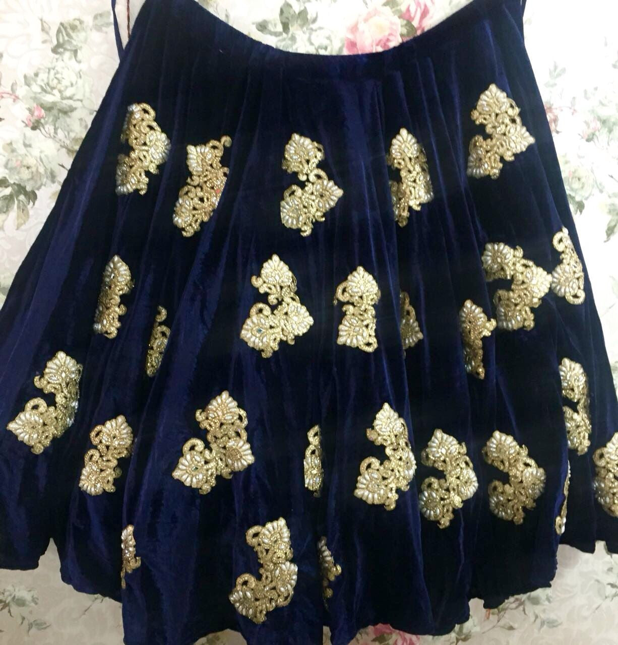Navy Blue Velvet Embroidered Bollywood Lehengacholi ,Indian Dresses - 2