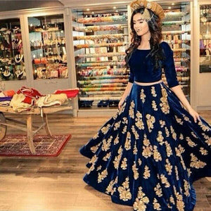 Navy Blue Velvet Embroidered Bollywood Lehengacholi ,Indian Dresses - 1