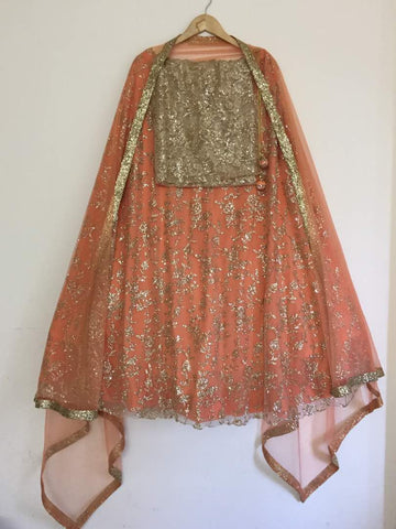Beige Net Shimmer Wedding Dresses Indian Lehenga