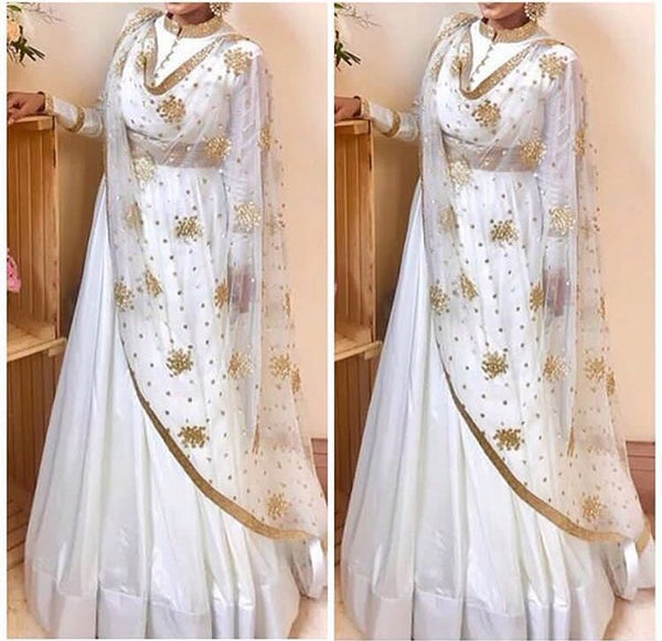 White Georgette Bollywood Lengha Choli Fashion