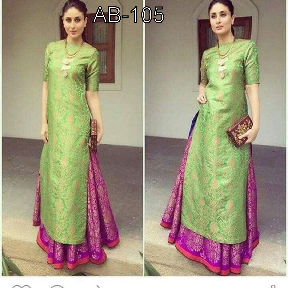 Pink Green Celebrity Designer Lehengas Replica