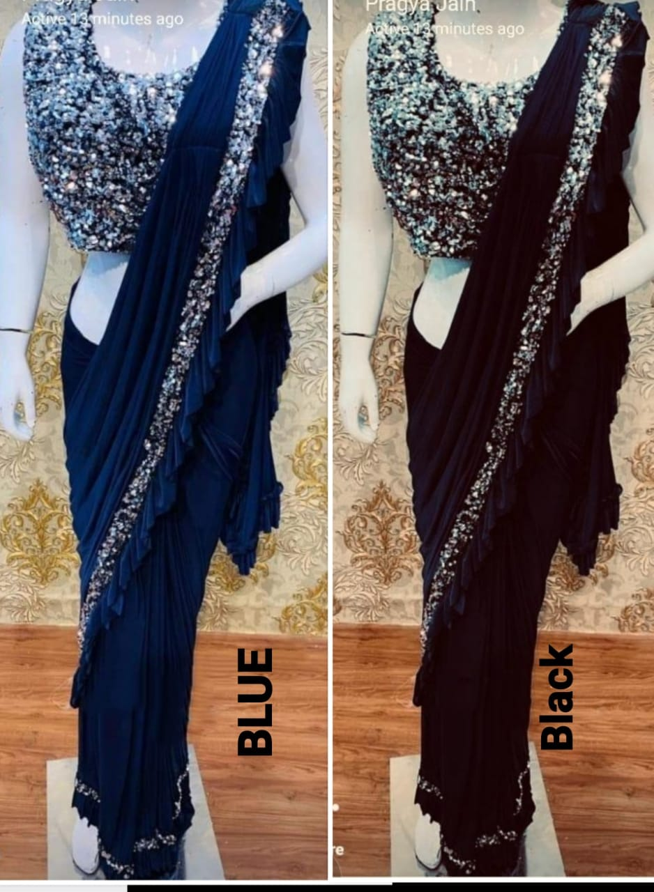 Indian Dresses Drape Saree Lycra Embroidered Ready To Wear Designer Sarees