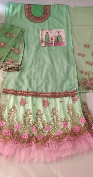 Light Green and Pink Embroidered Lehenga/ Straight Suit Combo Dress