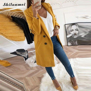 Women Plus Size XXXL Woollen Blends Overcoats 2019 Autumn Winter Long Sleeve Casual Oversize Outwear Jackets Coat