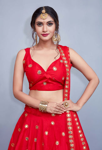 Red Taffeta Silk Mirror Work Sleeveless Fashion Lehenga Choli Online