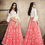 Coral Pink Embroidered Tissue Beautiful Wedding Lehenga Choli Online