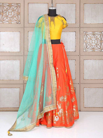 Orange Thai Silk New Designs Indian Lehenga Choli Online Shopping