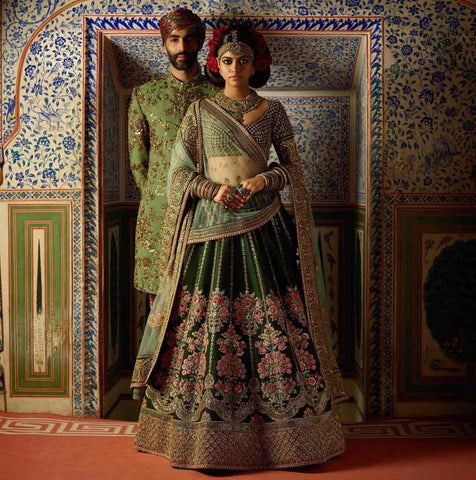 Pine Green Embroidery Silk Beautiful Wedding Lehengas Online Store