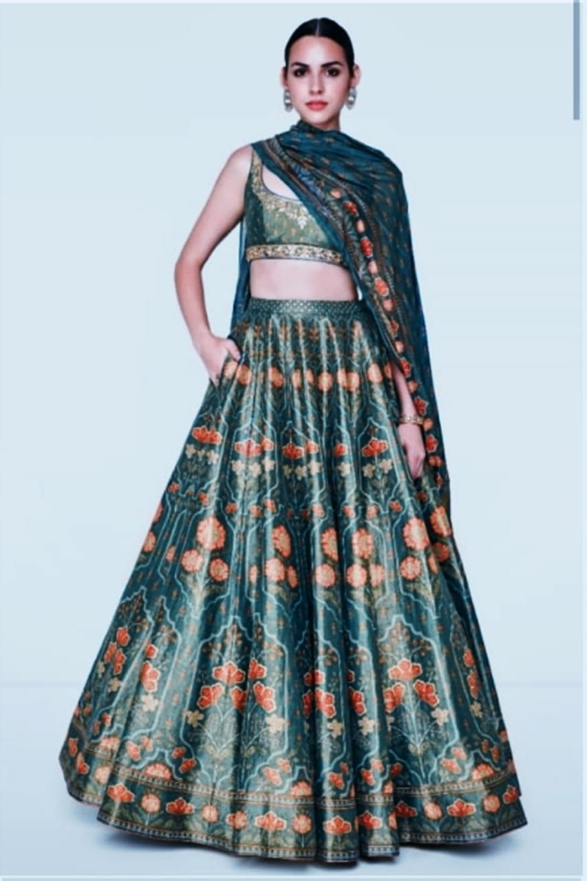 Green Digital Print New Lehenga Choli Online Shopping