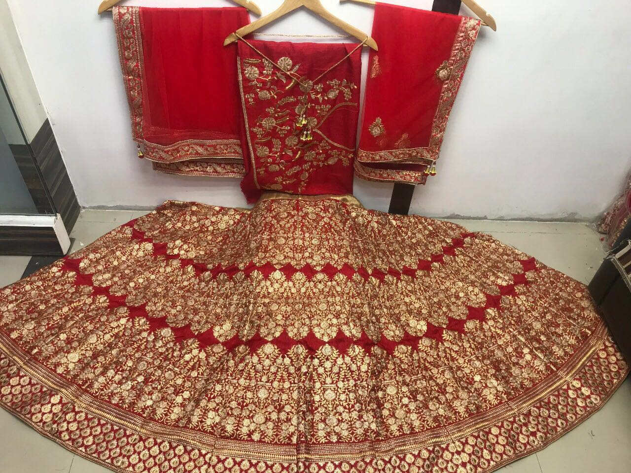 Beautifully Embroidered Red Silk Indian Bridal Lehenga Cholis