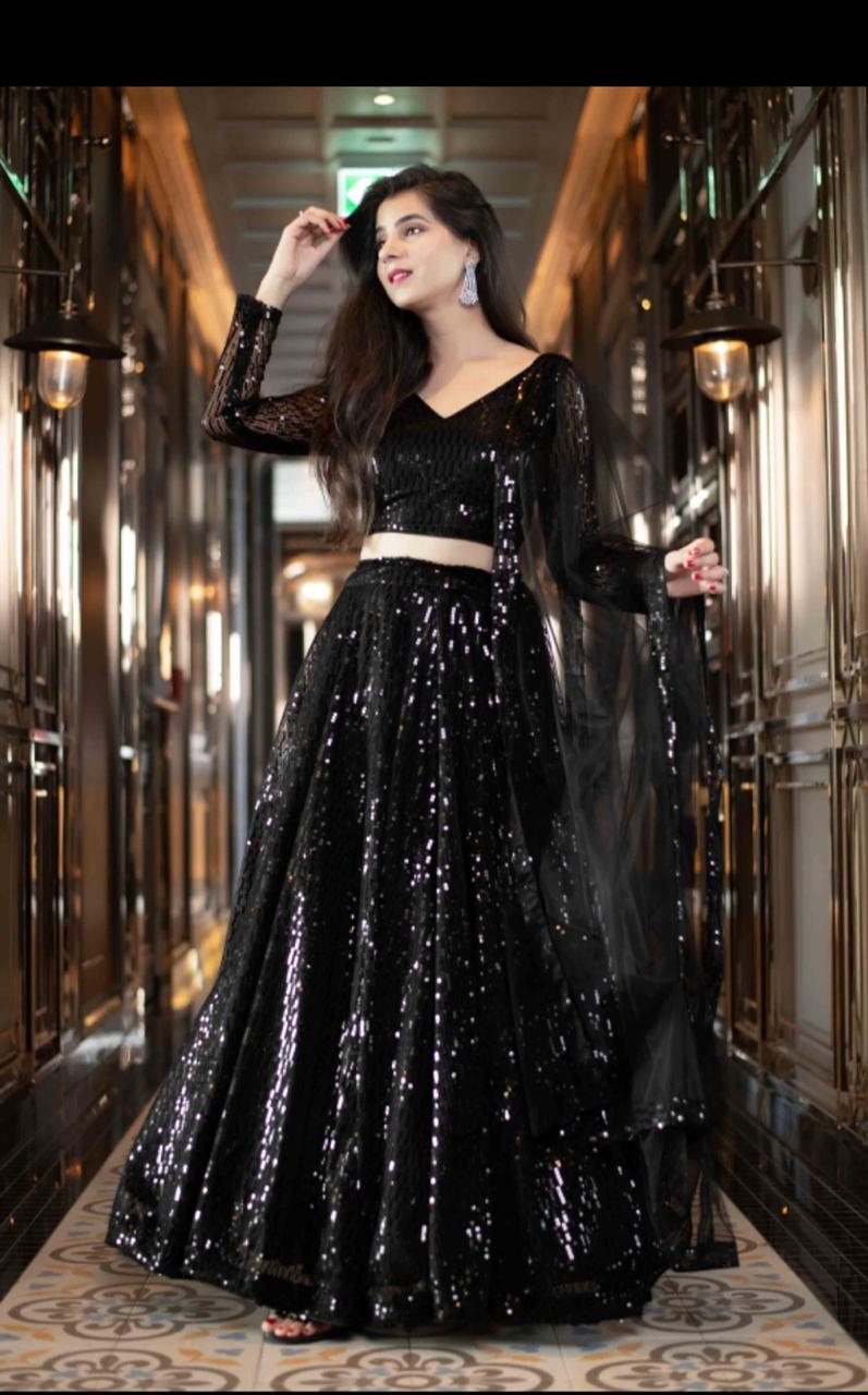 Black Net Sequins Latest Party Wear Lehenga Choli Shopping Online