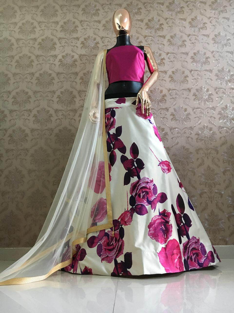 White And Magenta Satin Floral Printed Ghagra Choli Low Price