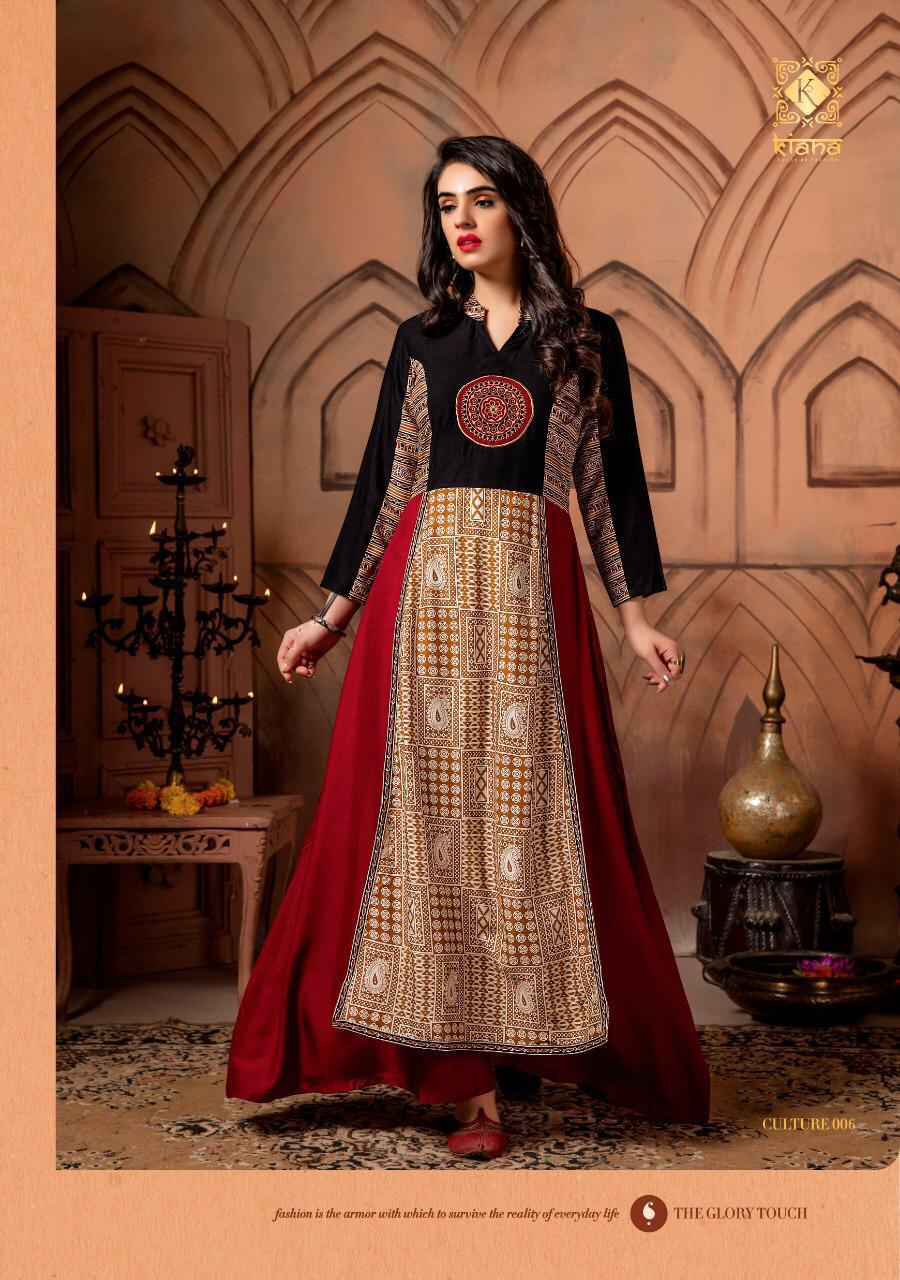 Red and Black Cotton Embroidered Kurti with Hand block Print