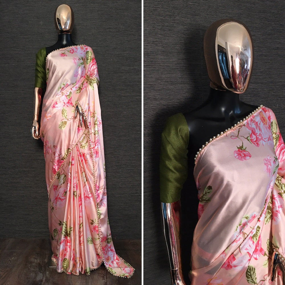 Peach Pink Satin Floral Print Pearl Lace Fancy Women Saree Online