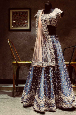 Dark Blue Embroidered Banarasi Silk Beautiful Lehenga Choli Designs