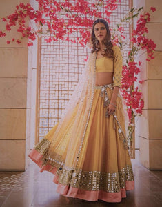 Yellow Raw Silk  Bollywood Indian Clothes Lehenga