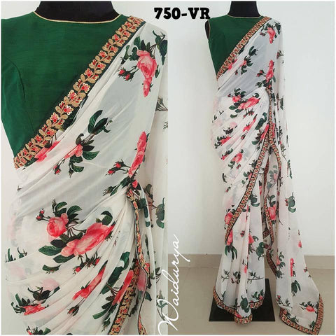 White Georgette Floral Printed Sarees With Price India Online